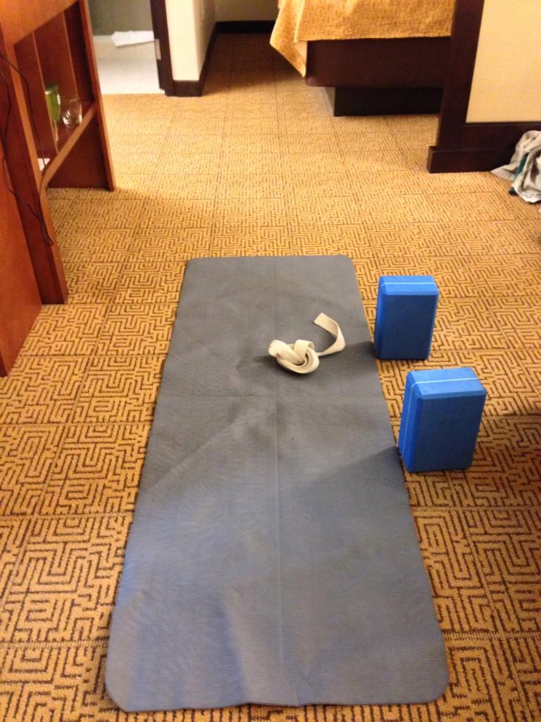 Nike travel mat, Hugger Mugger lightweight blocks, and Hugger Mugger D-Ring strap
